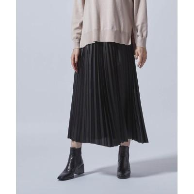 【ロートレ・アモン】 アコーディオンプリーツのレザー風スカート レディース ブラック 7号 LAUTREAMONT