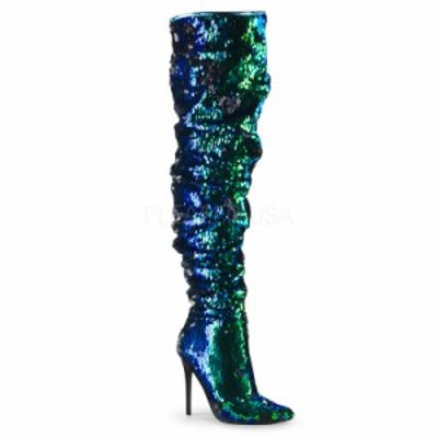 Pleaser COURTLY-3011 5inch Ruched Sequined Thigh High Boot, 1/3 Side Zip◆取り寄せ