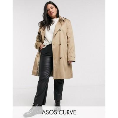 エイソス ASOS Curve レディース トレンチコート アウター ASOS DESIGN Curve trench coat in stone ベージュ