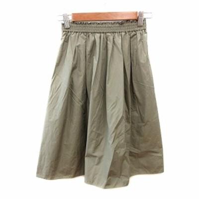 【中古】ナチュラルビューティー NATURAL BEAUTY ギャザースカート ひざ丈 フリル 38 カーキ 緑 グリーン レディース