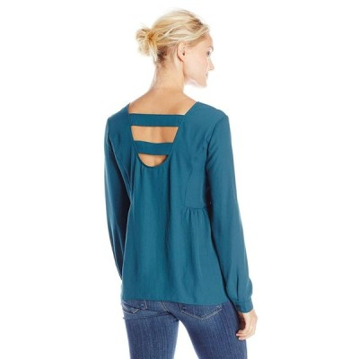 Olive & Oak Women's Ladder Back Long Sleeve Top, Emerald Coast Small