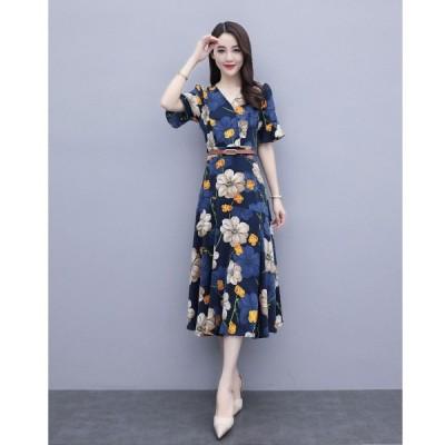 春夏 ドレス ワンピース ひざ下 花柄 袖あり 半袖 スリット スリム Vネック エレガント フェミニン