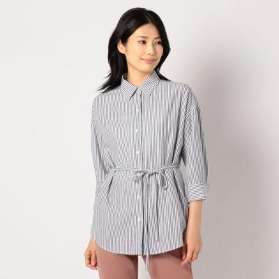 GALLORIA レディース 【在庫限り】ウエストリボン付きレギュラーシャツ ネイビー M
