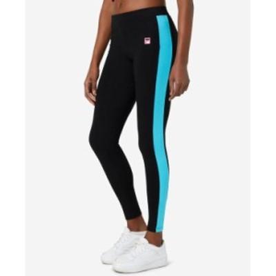 フィラ レディース カジュアルパンツ ボトムス Women's Riviera Striped Leggings Black