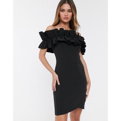 リバーアイランド レディース ワンピース トップス River Island off shoulder dress with ruffles in black