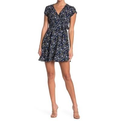 バジルローラ レディース ワンピース トップス Floral Cap Sleeve Mini Wrap Dress BLK BLUE FLRL