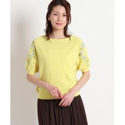 SunaUna/スーナウーナ 【洗える】フラワー刺繍5分袖ニット レモンイエロー(131) 38(M)