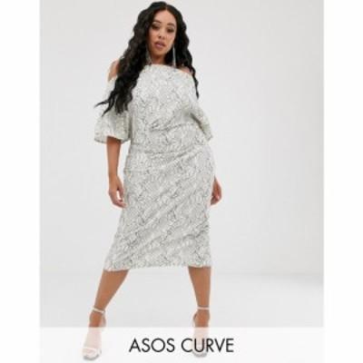 エイソス ASOS Curve レディース ワンピース ミドル丈 ワンピース・ドレス ASOS DESIGN Curve fallen shoulder lace midi dress