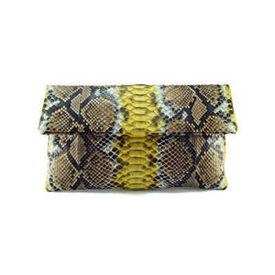 Genuine Brown Yellow Motif Python Leather Classic Foldover Clutch Bag【並行輸入品】