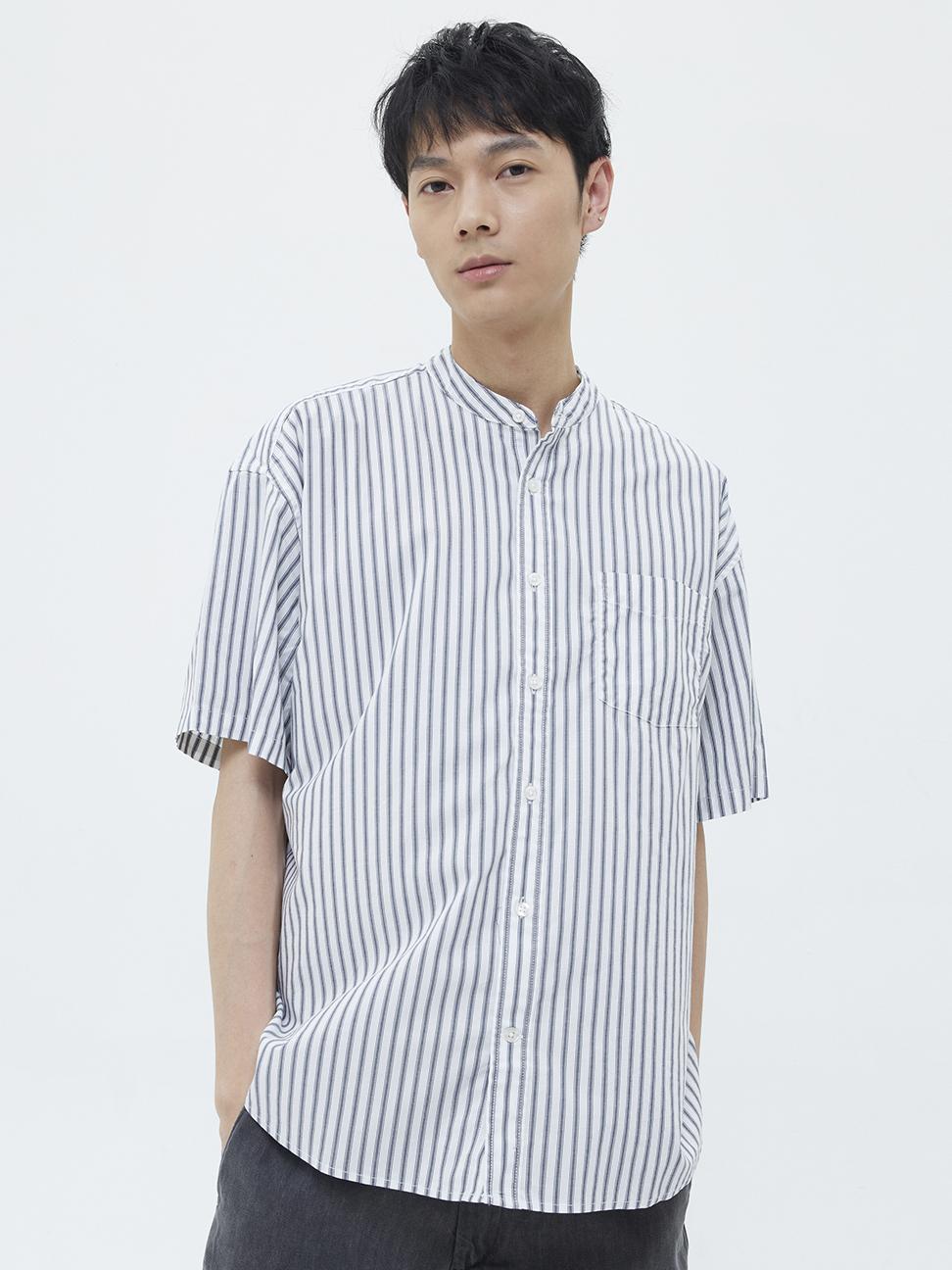 男裝 府綢布條紋圓領短袖襯衫