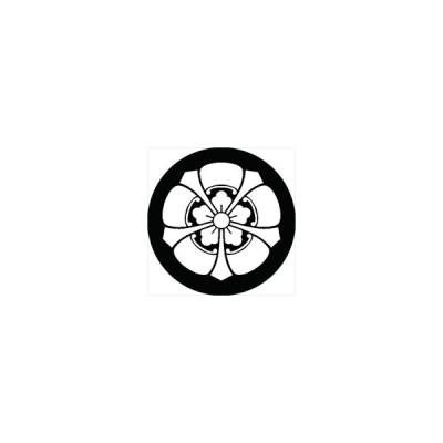 家紋シール 剣五瓜に唐花紋 直径24cm 丸型 白紋 KS24M-1068W