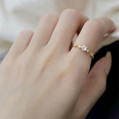 シルバー925指輪 金メッキ きらきらで輝く ジルコニア指輪 気品 コーディネート シンプル指輪