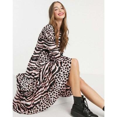 リカリッシュ Liquorish レディース ワンピース ミドル丈 ワンピース・ドレス A-Line Midi Dress In Pink Leopard Print