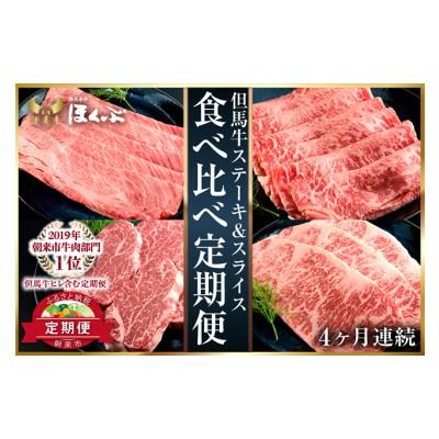 但馬牛ヒレ・ロースステーキ・スライス 食べ比べ定期便(4ヶ月連続)