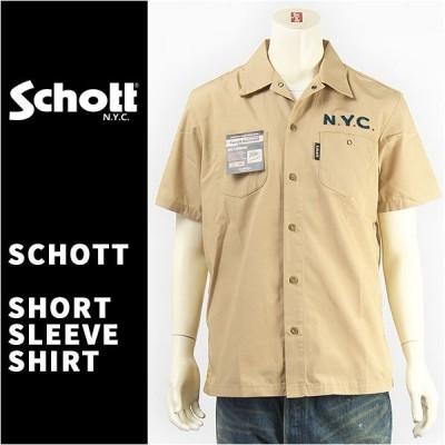 【国内正規品】Schott ショット 刺繍 シャツ ワーク クロスフラッグ T/C素材 半袖  Schott S/S TC WORK SHIRT CROSS FLAG 3175002-51 【星条旗・送料無料】