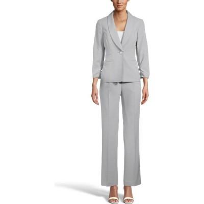 ル スーツ Le Suit レディース スーツ・ジャケット パンツスーツ アウター Ruched-Sleeve One-Button Pantsuit Light Grey