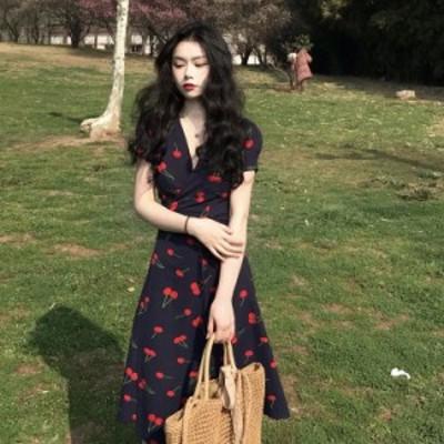 春夏 新作 ドレス ワンピース ウエストリボン パーティ着痩せ 無地 可愛い ファッション LDJ057