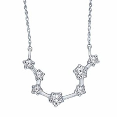 1/5 Carat Diamond Zodiac Constellation Aquarius Sign Pendant Necklace for Women in 925 Sterling Silver (I, I3, cttw) 18 Inch Cha