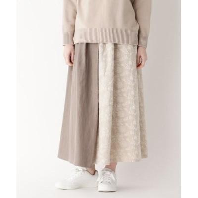 ボタニカルステッチ切り替えスカート