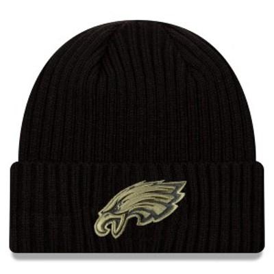 ニューエラ メンズ 帽子 アクセサリー Philadelphia Eagles New Era 2020 Salute to Service Cuffed Knit Hat Black