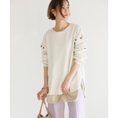 tシャツ Tシャツ サーマル肩スナッププルオーバー/ワッフルコットンブレンドボタンデザインサイドスリットカットソー