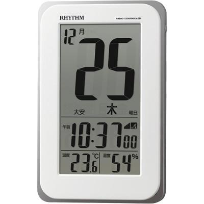 【正規品】リズム時計 RHYTHM クロック CITIZEN シチズン 8RZ139SR03 フィットウェーブカレンダーD139 電波目覚まし時計 掛時計 置時計 掛置兼用