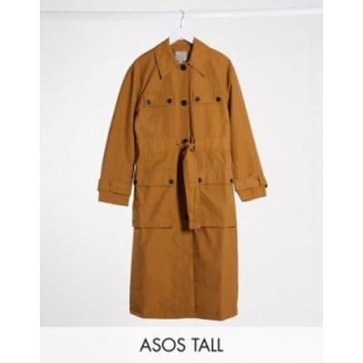 エイソス レディース コート アウター ASOS DESIGN Tall four pocket trench coat in ochre Ochre