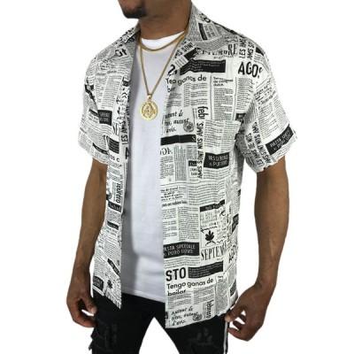 アロハシャツ ボタンシャツ 半袖 大きい メンズ レディース 春夏 カジュアル ニュースペーパー 新聞 英文字 白 ホワイト●sb86