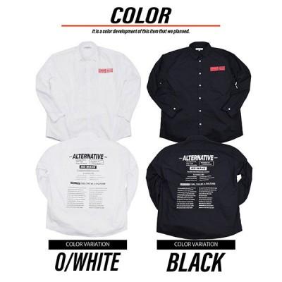 綿ブロードバックロゴプリントルーズフィットシャツ