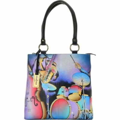 ANNA by Anuschka  ファッション バッグ ANNA by Anuschka Hand Painted Leather Zip Top Multi Leather Handbag NEW