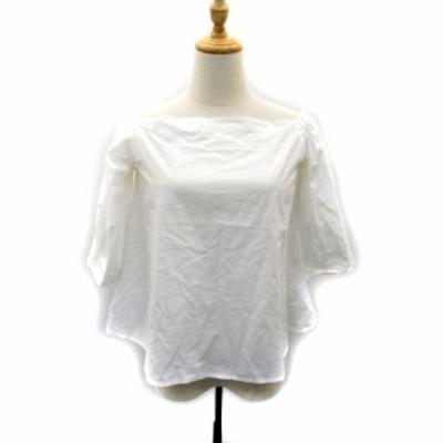 【中古】アメリカンラグシー AMERICAN RAG CIE ブラウス シャツ 七分袖 オフショルダー 無地 白 ホワイト レディース