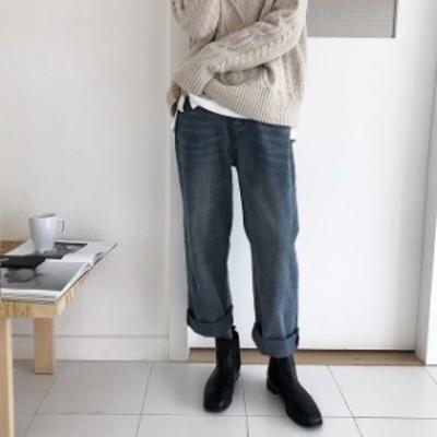 トレンド 売れ筋 冬物 デニムパンツ ジーンズ ロング パンツ ゆったり ハイウエスト 美脚 カジュアル こなれ感 hf0077