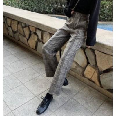2色 チェック柄 ワイドパンツ ボトムス ハイウエスト カジュアル 大人可愛い 韓国 オルチャン ファッション