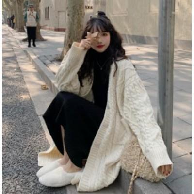 韓国 ファッション レディース ニットカーディガン ロングカーディガン アウター 羽織 ゆったり 長袖 カジュアル 大人可愛い 秋冬