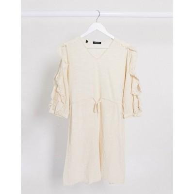 セレクテッド ミニドレス レディース Selected Femme ruffle sleeve mini dress with tie waist in cream エイソス ASOS