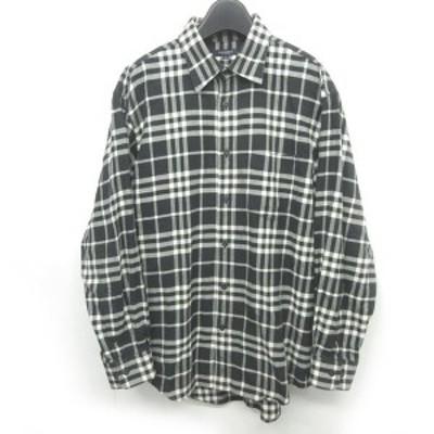 【中古】バーバリー ロンドン BURBERRY LONDON 美品 大きいサイズ フランネルシャツ ノバチェック アンゴラ混 LL