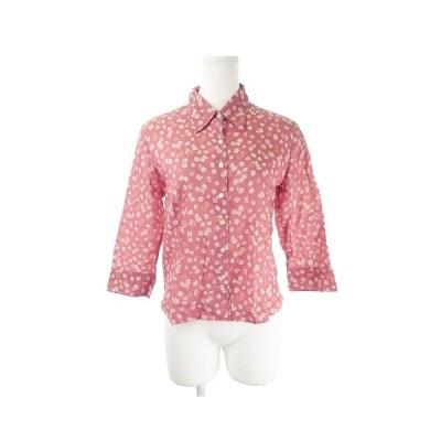 【中古】エディーバウアー EDDIE BAUER シャツ 七分袖 花柄 総柄 S 赤 レッド /AH3 ☆ レディース 【ベクトル 古着】