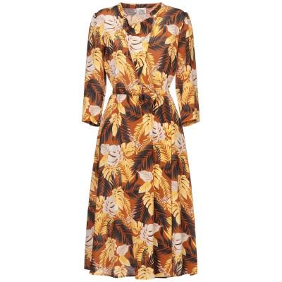 アティックアンドバーン ATTIC AND BARN 7分丈ワンピース・ドレス ブラウン 46 シルク 100% 7分丈ワンピース・ドレス