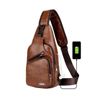 longmiaoメンズショルダーバッグサイクリング用USB充電ポート付きヴィンテージレザーのショルダーストラップ付きショルダーバッグキャンプデイパック