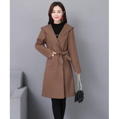 【アフェリーチェ】 フード付きトレンチコート 韓国 ファッション レディース シンプル かわいい オシャレ あったか レディース ライト ブラウン L Afelice