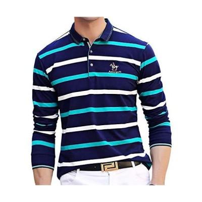 ポロシャツ 長袖 メンズ ゴルフウェア ボーダー スポーツポロシャツ 綿 ビジネス ゴルフシャツ 男性 刺繍 秋冬春 (ブルー1 2XL)