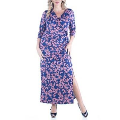 24セブンコンフォート レディース ワンピース トップス Women's Plus Size Floral Print Side Slit Maxi Dress Multi