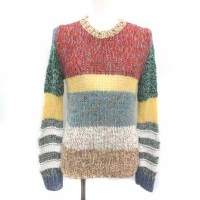 【中古】ヌメロヴェントゥーノ 19SS ニット セーター 長袖 ボーダー 配色 かぎ針編み 36 XS マルチカラー レディース