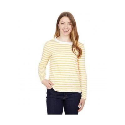 Elliott Lauren レディース 女性用 ファッション Tシャツ In Line Crew Neck Striped Top with Raw Edge - Marigold