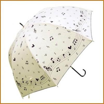 ドーム型長傘 シルバーラメ 60cm 音符 FS-22B オフホワイト ▼雨の日が少し楽しくなるおしゃれな傘