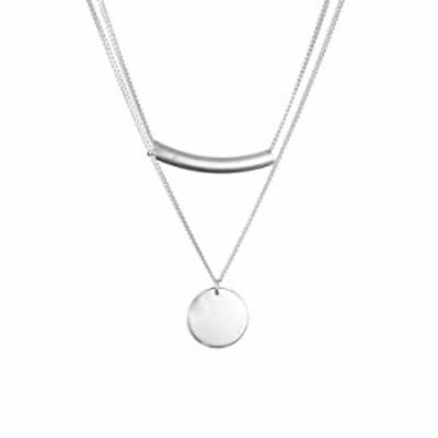 Furious Jewelry 925スターリングシルバー カーブバー&ラウンドドット型ペンダント 2層チェーンネックレス レディース