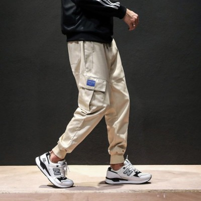ズボン 長ズボン パンツ カーゴパンツ ロングパンツ カジュアルパンツ メンズ ボトムス 裾リブ ポケット多数 大き目ポケット ウエスト紐 ウエストゴ