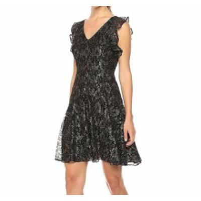 Gold ゴールド ファッション ドレス Tommy Hilfiger NEW Black Gold Womens Size 16 V-Neck Fit & Flare Dress