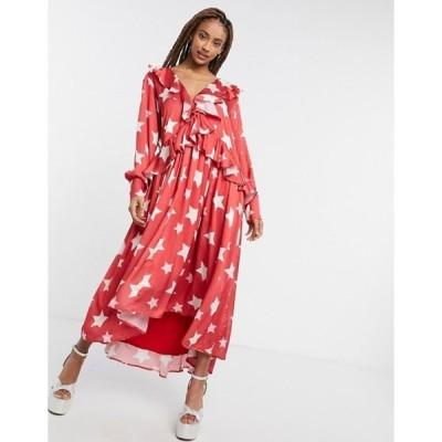 シスタージュン レディース ワンピース トップス Sister Jane midi ruffle dress with full skirt in red star print