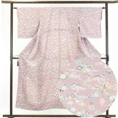 リサイクル着物 小紋 正絹藤色地花柄袷小紋着物